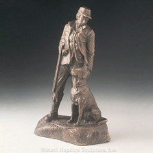 "Bronze Hunting Dog and Man Sculpture ""Sunrise"" 