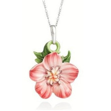 Geranium Flower Necklace | Franz Porcelain Jewelry | FJ00241 -2