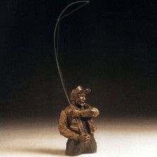 "Bronze Fisherman Sculpture ""Gotcha"" 