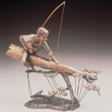"Child Fishing Bronze Sculpture ""Fishing Hole"" 