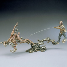 "Fisherman Bronze Sculpture ""Fast and Shallow "" 