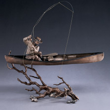 "Fisherman in Canoe Bronze Sculpture ""Upstream"" 