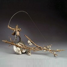 "Fisherman Bronze Sculpture ""Setting the Hook"" 