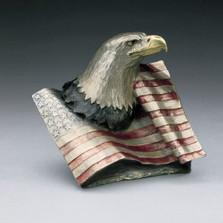 "Eagle with Flag Bronze Sculpture ""Justice"" | Mark Hopkins | mhs22042"