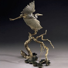 Great Blue Heron Bronze Sculpture | Mark Hopkins | mhs41013