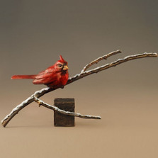 "Bronze Cardinal Sculpture ""First Snow"" 