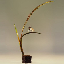 "Chickadee Sculpture Bronze ""September Song"" 