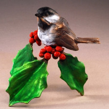 "Chickadee Sculpture Bronze ""Joy of the Season"" 