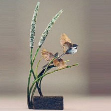 "Chickadee Sculpture Bronze ""Birds of a Feather Summer"" 