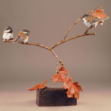 "Bronze Chickadee Sculpture ""Three's a Crowd"" 