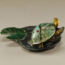 "Turtle Bronze Sculpture ""Johnny On The Spot"" 