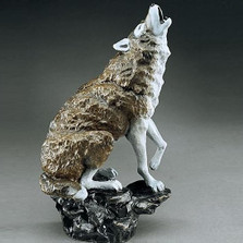 "Wolf Sculpture ""Midnight Serenade"" 