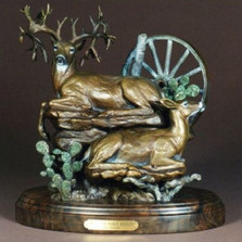 "Deer Bronze Sculpture ""Hill Country Reign"" 
