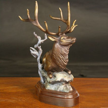 "Elk Bronze Sculpture ""Cloak N Daggers"" 
