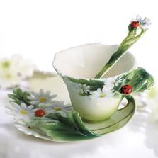 Ladybug Cup Saucer Spoon Set   Franz Porcelain   fz00034