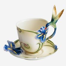 Hummingbird Iris Cup Saucer Spoon   fz00129   Franz Porcelain Collection