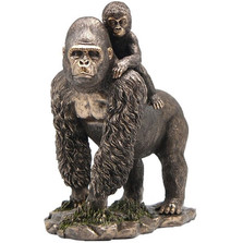 Gorilla and Baby Bronze Finish Sculpture | Unicorn Studios | USIWU75110A4