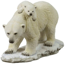 Polar Bear Cub on Mom's Back Sculpture | Unicorn Studios | USIWU75390VA