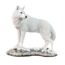 White Wolf Sculpture on Snowy Ground | Unicorn Studios | USIWU75746AA