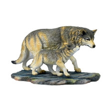 Wolf and Baby Wolf Sculpture 2 | Unicorn Studios | wu74854aa