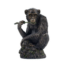 Chimpanzee Chewing Tree Branch Sculpture | Unicorn Studios | wu74873a4