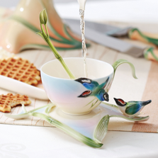 Bamboo Songbird Cup Saucer Spoon | FZ00570 | Franz Porcelain Collection