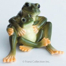 Frog Collection Mother & Daughter Figurine | Franz Porcelain -2