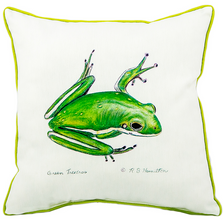 Green Tree Frog Indoor Outdoor Pillow | Betsy Drake | BDZP040