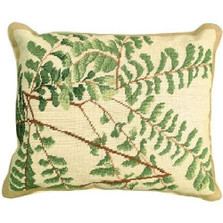 Fern Plant Leaves Needlepoint Down Pillow | Michaelian Home | MICNCU110