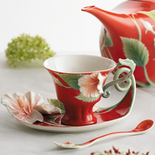 Island Beauty Hibiscus Cup Saucer Spoon | fz00978 | Franz Porcelain Collection