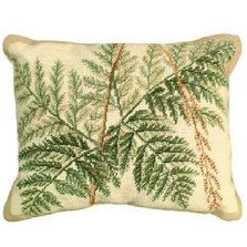 Fern Leaves Needlepoint Down Pillow | Michaelian Home | MICNCU111