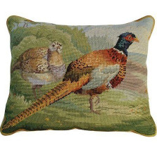 Pheasants in the Field Needlepoint Down Pillow | Michaelian Home | MICNCU162 -2