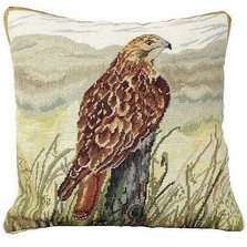 Red Tail Hawk Needlepoint Down Pillow | Michaelian Home | MICNCU194 -2