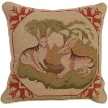Lancaster Hare Needlepoint Pillow | Michaelian Home | MICNCU304