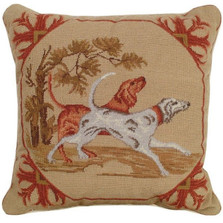 Lancaster Dogs Needlepoint Pillow | Michaelian Home | MICNCU305