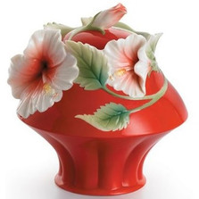 Island Beauty Hibiscus Sugar Jar | fz00981 | Franz Porcelain Collection -2