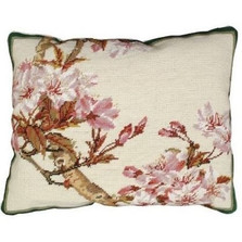 Cherry Blossom Flowers Needlepoint Down Pillow | Michaelian Home | MICNCU329C -2