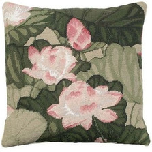 Lotus Needlepoint Down Pillow | Michaelian Home | MICNCU344A -2