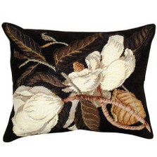 Magnolia Needlepoint Down Pillow | Michaelian Home | MICNCU411 -2