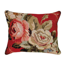 Floral Needlepoint Down Pillow Diagonal Flowers | Michaelian Home | MICNCU52