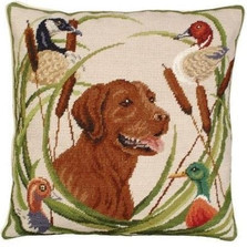 Dog Needlepoint Down Pillow Sporting Chocolate Lab | Michaelian Home | MICNCU742 -2