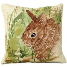 Rabbit Needlepoint Down Pillow Thumper | Michaelian Home | MICNCU-754 -2