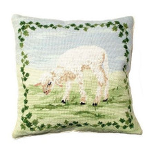 Lamb Needlepoint Down Pillow | Michaelian Home | MICNCU-757
