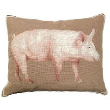 American Yorkshire Pig Needlepoint Down Pillow | Michaelian Home | MICNCU761