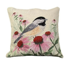 Chickadee Needlepoint Down Pillow | Michaelian Home | MICNCU-768