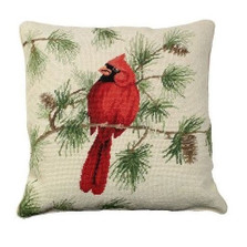 Cardinal Needlepoint Down Pillow | Michaelian Home | MICNCU-771