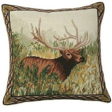 Elk in the Woods Needlepoint Down Pillow | Michaelian Home | MICNCU776