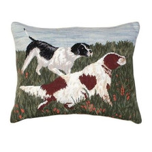 Dog Needlepoint Down Pillow Springers | Michaelian Home | MICNCU779
