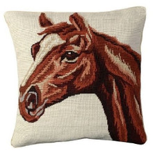 Red Horse Needlepoint Down Pillow | Michaelian Home | MICNCU781