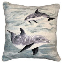Dolphin Needlepoint Down Pillow | Michaelian Home | MICNCU816